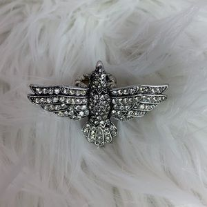 Silver jeweled bird elastic fashion ring